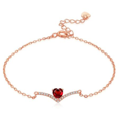 Womens Natural Gemstone 0.3ct Garnet Heart Bracelet