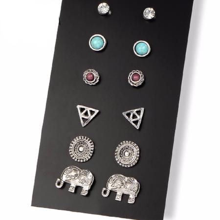 6/Pair Set Bohemian Assorted Multiple Stud Earring