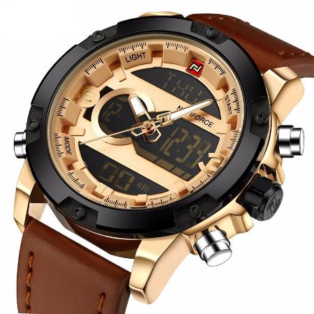 Mens Chronograph Stainless Steel Sports Quartz Leather Band Watch
