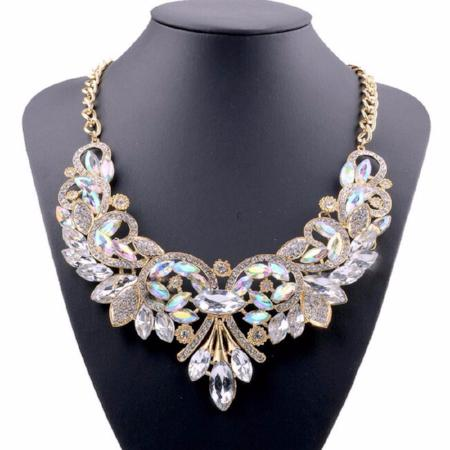 Women's Crystal Flower Water Drop Statement Necklace