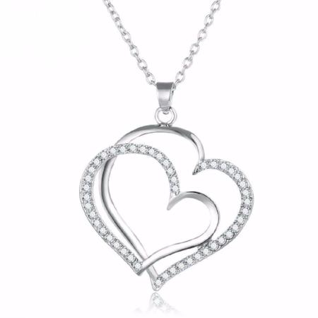Silver Rhinestone Hollowed Out Heart Pendant Necklace