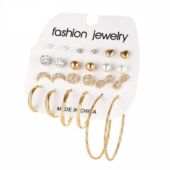 Assorted Multiple Gold 12 Pair Hoop Stud Earring Set