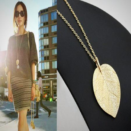 Women's Fashion Gold Leaf Long Pendant Necklace