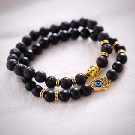 Mens Natural Stone Black Lava Energy Buddha Beaded Bracelet