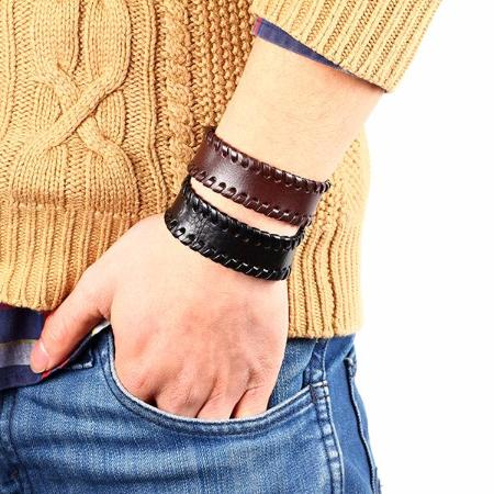 Mens Wide Leather Strap Button Bangle Bracelet