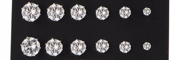 6 Pair Unisex Crystal Stud Earring Set 2 Colors Available