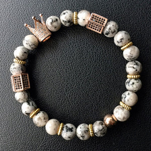 Mens 8mm Natural Stone Micro Ziron Inlay Beaded Bracelet