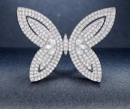 Womens Cubic Zirconia Large Butterfly Cocktail Ring