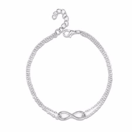 Womens Elegant Silver Plated Infinity Double Layer Chain Ankle Bracelet