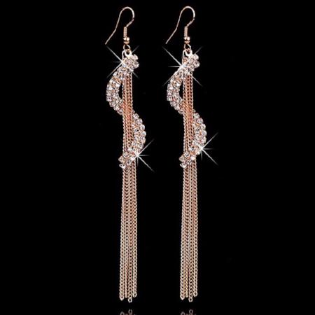 Crystal Fringe Tassel Long Drop Earrings