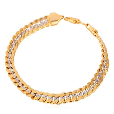 Mens Two Tone Cuban Link  Chain Bracelet