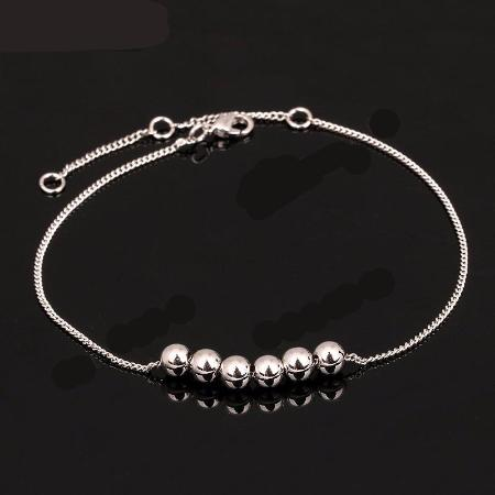 Womens 18k Platinum Plated Metal Bead Chain Ankle Bracelet