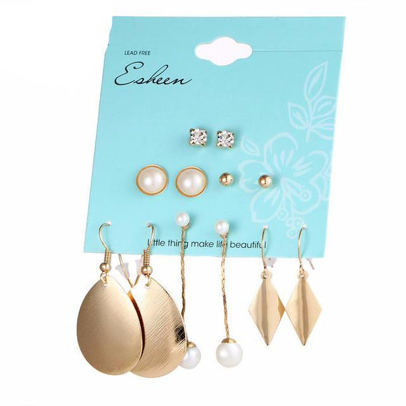 6 Pair Simulated Pearl Water Drop Triangle Shape Crystal Stud Earring Set