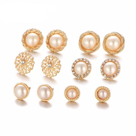 6 Pair Vintage Crystal Simulated Pearl Earring Set