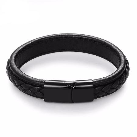 Mens Fashion Leather Bangle Stainless Steel Buckle Bracelet