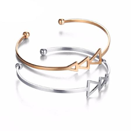 Women's Vintage Rose Gold Triple Triangle Open Bangle Bracelet