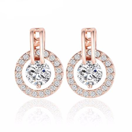 Rose Gold Plated Crystal Circle Stud Earrings