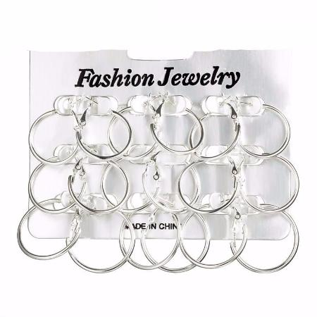 Multiple Size 9 pair Circle Hoop Earrings Set For Women
