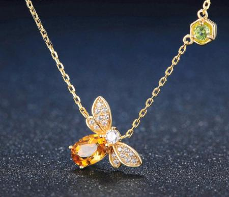 100% Natural Citrine 14k Gold Plated Bee Pendant Necklace
