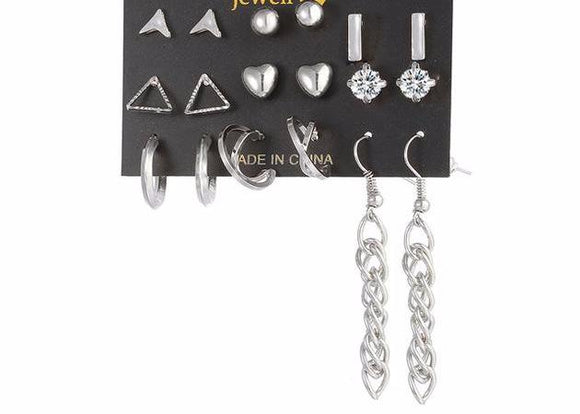9 Pair Punk Tassel Crystal Stud Earring Set