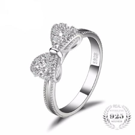 Cubic Zirconia 925 Sterling Silver Anniversary Bow Ring