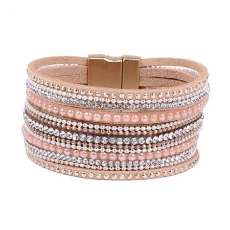 Women's Luxury Genuine Leather Natural Crystal Bangle Bracelet