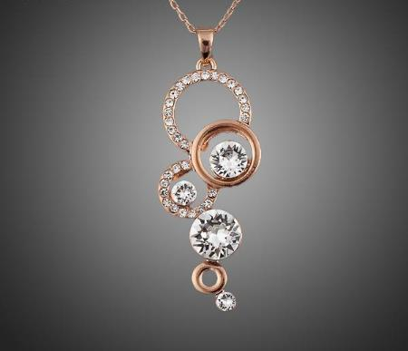 Rose Gold Plated Multiple Circle Pendant Necklace
