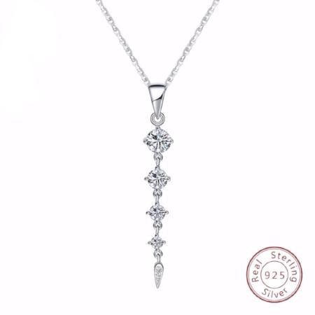 925 Sterling Silver Long Leaf Shaped Pendant Necklace