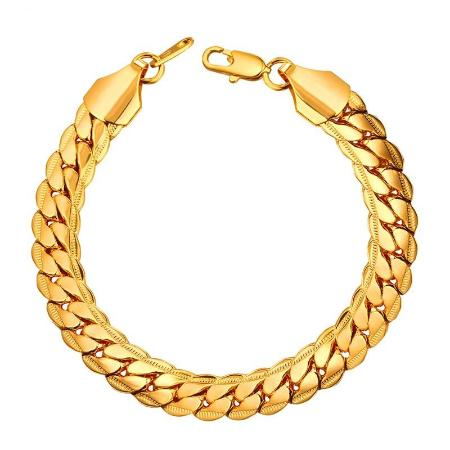 Mens 9mm Cuban Link Snake Chain Bracelet