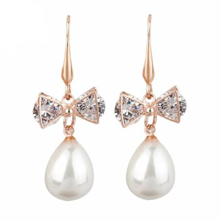 Rose Gold CZ Bow Pearl Drop Earrings