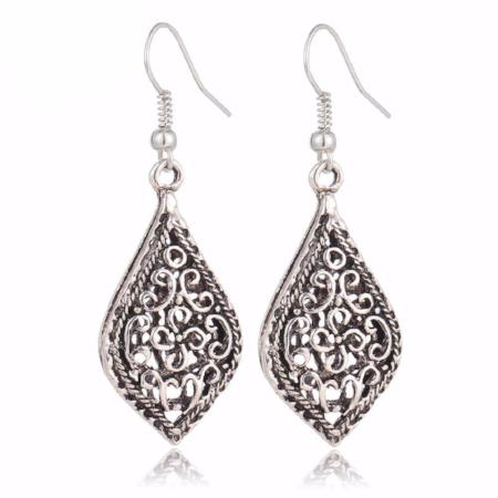 Vintage Hollow Out Water Drop Earrings