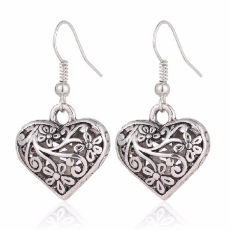 Antique Heart and Flower Dangle Drop Earrings