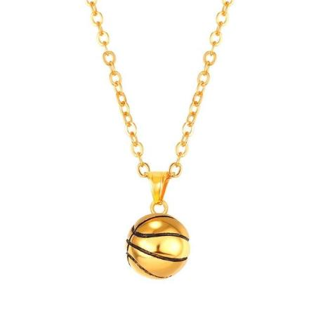 Mens Stainless Steel Basketball Pendant Necklace