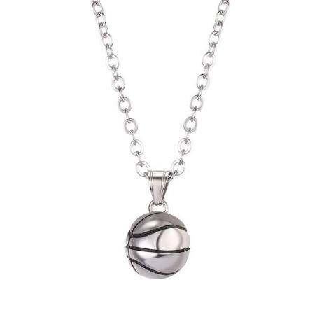Mens stainless steel basketball pendant necklace neensjewelry mens stainless steel basketball pendant necklace mozeypictures Images