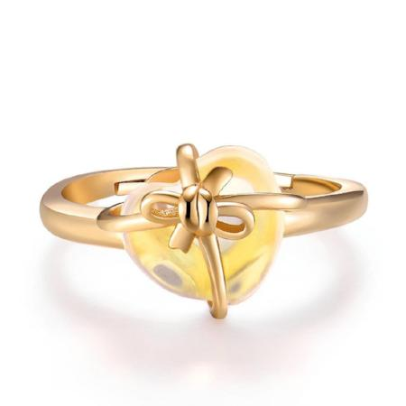 Womens Natural Citrine 925 Sterling Silver Heart Ring