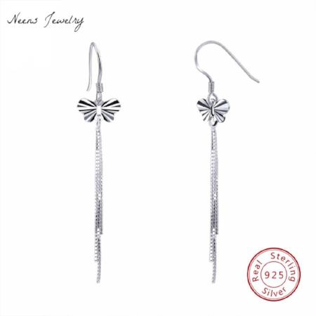 Womens Sterling Silver Butterfly Tassel Earrings