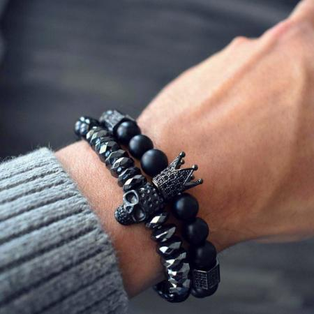 Mens Black Titanium Steel 8mm Onyx Natural Stone Skull Stretch Bracelet