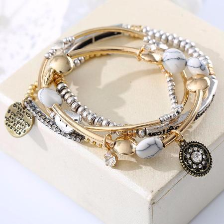 Women's 4 Piece Multilayered Hope Letter Stone Beaded Fashion Bangle Bracelet