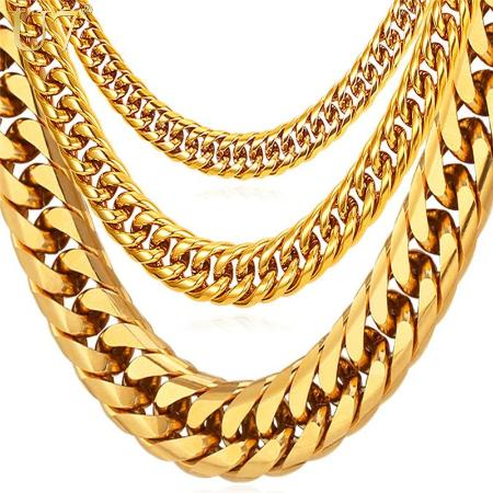 Mens Big Stainless Steel Cuban Link Necklace Chain