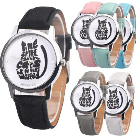 Womens Fun Cat Shaped Letters Quartz Watch