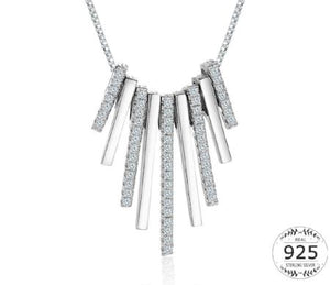 Womens Sterling Silver Tassel Bar Pendant Necklace