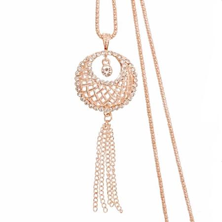 Women's Fashion Crystal Circle Tassel Long Pendant Necklace