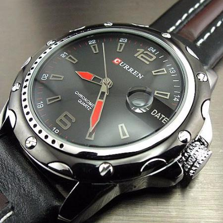 Mens Fashion Casual Quartz Hour and Date Leather Strap Wrist Watch