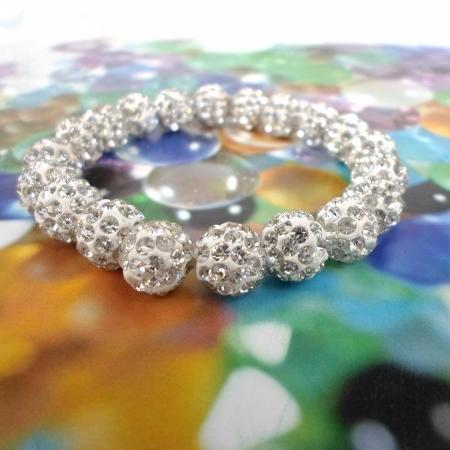 Women's Vintage White Crystal Ball Shambala Bead Bangle Bracelet