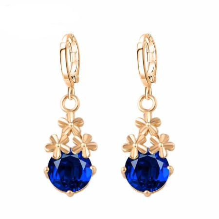 Crystal Flower Water Drop Earrings
