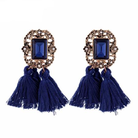 Vintage Style Crystal Tassel Dangle Drop Earrings