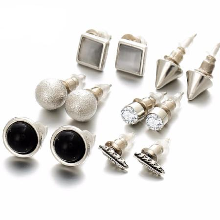 Assorted Multiple Silver Ball Crystal Stud Vintage Leaf 6 Piece Earring Set
