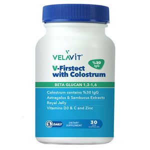 Velavit V-Firstect with Colostrum 30 kapsül-Arı Sütü ve Vitaminli Takviye Edici Gıda