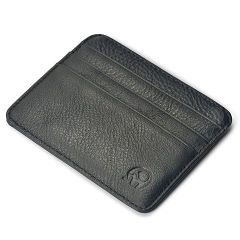 Genuine Leather Credit Card Holder RFID Blocking Wallet Slim Design with Multi Slots