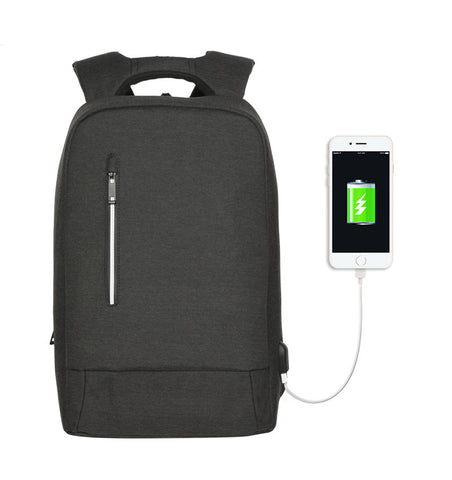 Anti-theft Water-resistant Backpack with USB Charging Port  (Dark Grey)